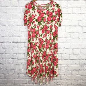 LuLaRoe Ivory and Pink Floral Carly